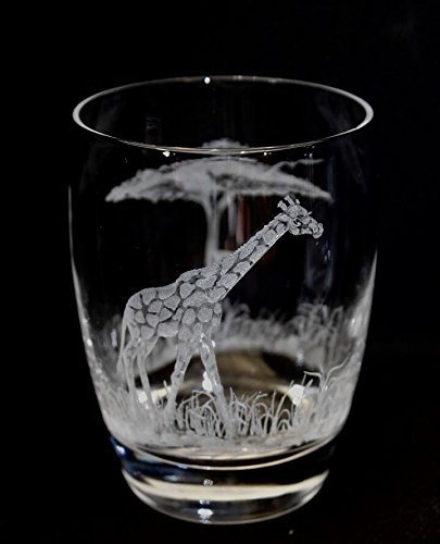 Hand Engraved double old fashion glass Giraffe, Engraved Glass, African Art, Crystal Glass Engraved, Etched Animal
