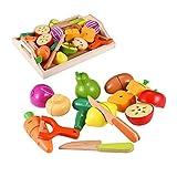 CARLORBO Holzspielzeug Essen für Kinder Küche - Spielen Sie Essen Schneiden von Obst und Gemüse Set für Rollenspiele, Lernspielzeug Geschenk für Kinder Kleinkinder ab 3 Jahren