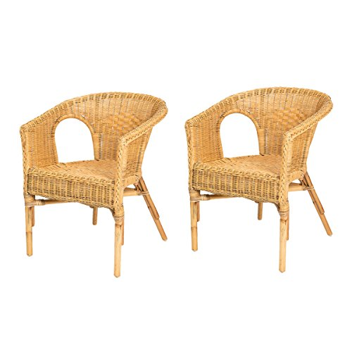 Lot de 2 fauteuils Chris Miel en Osier