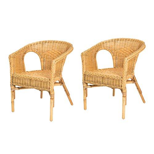 Lot de 2 fauteuils Chris Miel en Osier