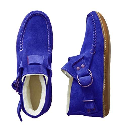 Mujeres's Botas Cortas Invierno Caliente Tacón Plano Bajo Botines Retro Hebilla De Cinturón Zapatos Ecuestres Dedo del Dedo del Dedo del Dedo Tamaño Grande Al Aire Libre Botas Bike-Azul 36
