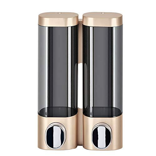 Preisvergleich Produktbild Unbekannt Doppelseifenspender 300ml ABS Kunststoff Bohren freies mit 3M Klebstoff oder Wandmontage mit Schrauben Flüssiges Handbrause Spender for Badezimmer (Gold)