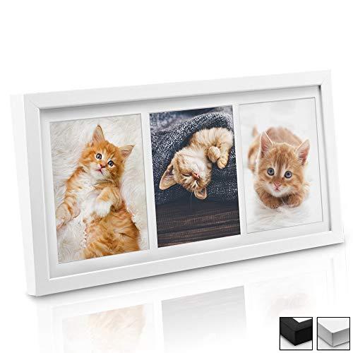 bomoe Bilderrahmen Galeria für 3 Fotos 10x15 cm - Fotorahmen aus Holz, Plexiglas, Metall-Aufhängung, Aufsteller & Passepartout Multirahmen für Bilder Collagen - Weiß