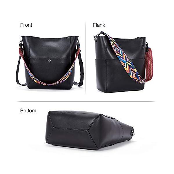 BROMEN Women Handbag Designer Vegan Leather Hobo Handbags Shoulder Bucket Cross-body Purse 3