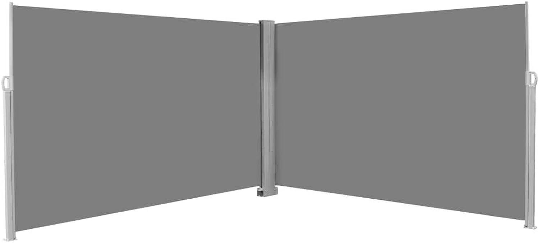 Festnight- Ausziehbare Seitenmarkise  Doppel Seitenmarkise Sichtschutz  Seitenrollo  Sonnenschutz  Braun Schwarz Creme Grau Stoff 160 180 200 ×600 cm