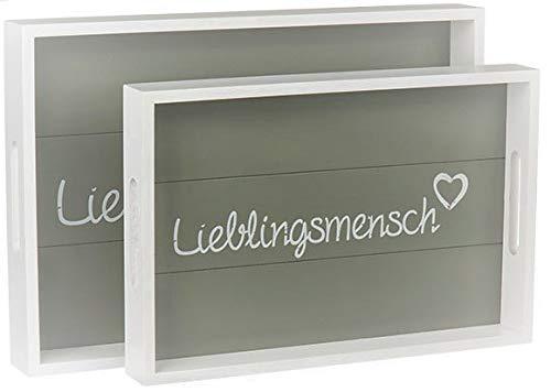 MC Trend Lieblingsmensch 2er Set Holz Tablett Frühstück Essen Geschirr Deko-Geschenk-Idee (2er Set Holz-Tablett)