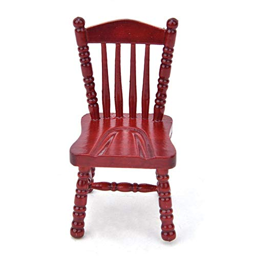 Muebles de casa de muñecas Silla de madera roja, exquisito sillón en miniatura Accesorios de fotografía 1:12 Decoración de casa de muñecas