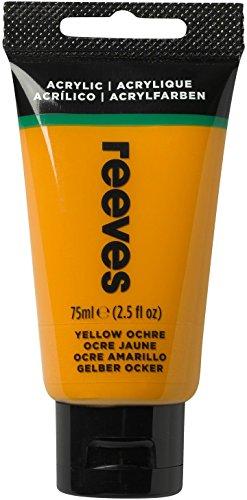"""Reeves 8341500""""Acrylic"""" farba akrylowa, światłoodporna, wysoka pigmentacja, duża siła koloru, tubka 75 ml - żółty ochra"""