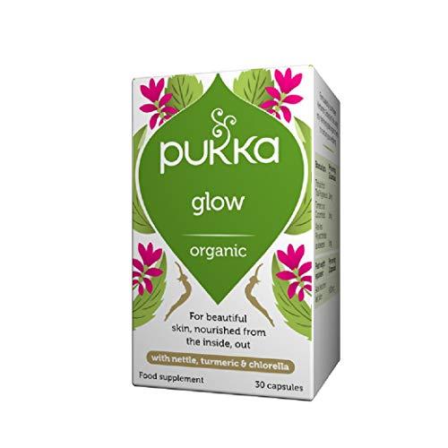 Pukka Herbs Glow, Organic Herbal Supplement, Natural Skin Booster with Turmeric, Neem and Burdock Root (30 Capsules)