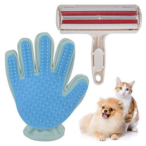 Fusselrolle+Fellpflege-Handschuhe als Bürste für Katzen-Haare,Fusselrolle Selbstreinigend mit Auffangbehälter,schnell und einfach zu bedienen und zu reinigen,einfach,effektiv,keine Haare auf dem Sofa