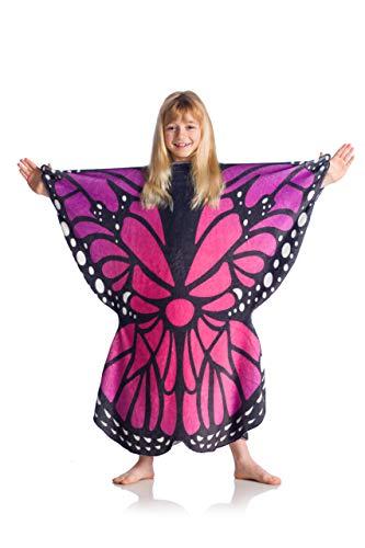 Kanguru Butterfly Kids Coperta, Poliestere, Rosa, Blu, Nero, 80x90 cm