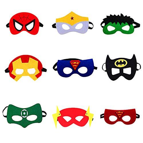 Tukcherry Masques de Super-Héros, 9pcs Masques pour Enfants Dress Up Masque de Super-héros Cosplay Pour Enfants Cadeaux D'anniversaire et Fête d'Anniversaire pour Filles, Garçons et enfants