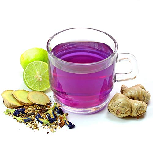 BLUE TEA - Butterfly Pea Flower, Lemon, Ginger Caffeine Free Herbal Purple Tea for Weight Loss (50g - 50 Cups)