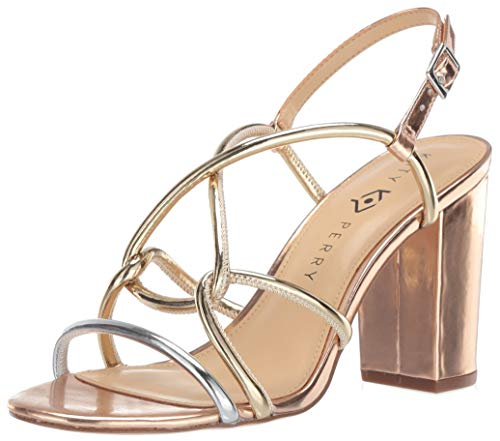 Katy Perry Women's The Kendra-Mirror Heeled Sandal silver/rose gold 8.5 Medium US