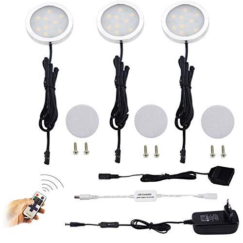 AIBOO LED Schrankleuchten 3er Komplettset, Unter Kabinett Beleuchtung mit Fernbedienung, Küchenlampen Vitrinenbeleuchtung Warmweiß 2700K, LED Unterbauleuchte Set Inklusiv alle Zubehör