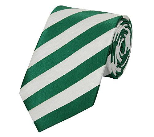Fabio Farini - Elegante cravatta da uomo in 8cm di larghezza in diversi colori per ogni occasione come matrimonio, cresima, ballo di fine anno Verde Bianco