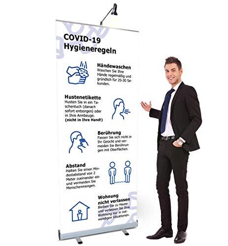 Displayhersteller Roll Up Budget Mobiler Aufsteller mit Hygieneregeln Druck (weiß-blau, 85 x 210 cm)