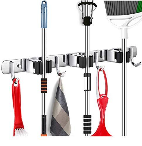 Yoocylii Mopp- und Besenhalter, 5 Positionen mit 6 Haken, für bis zu 11 Werkzeuge, Aufbewahrungslösungen für Besenhalter, Garagen-Aufbewahrungssysteme, Besen-Organizer für Garage (schwarz)