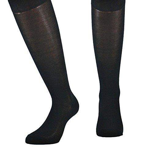 Fontana Calze, 12 paia di calze LUNGHE in puro cotone Filo di Scozia elasticizzate, confortevoli e rinforzate su punta e tallone. Prodotto Italiano. NERO - TG 11,5/12(42/44,5)