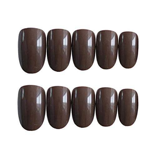 CSCH Faux ongles Shine Light Chocolate Color Brown False Nails with Glue Full Cover Round Head Medium Solid Solid Colors Press on Nails Acrylic Summer