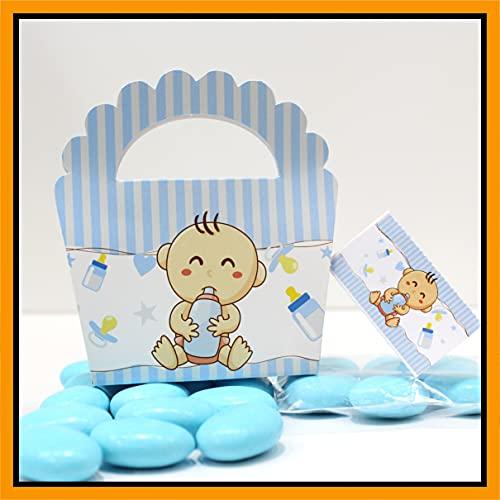 25+25 pezzi - Scatoline Bomboniere Battesimo Nascita compleanno Portaconfetti n. 25 pezzi + Bigliettini per Bomboniera o per fazzoletti 25 pezzi