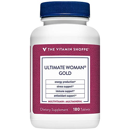 Ultimate Woman Gold Multivitamin with Iron, B Vitamins Vitamin D3 and More to Support Energy Production, Bone Immune Health Gluten Free Multimineral (180 Tablets) by The Vitamin Shoppe