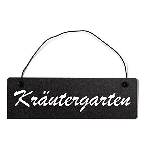 Deko Shabby Chic Schild Kräutergarten Vintage Holz Türschild in schwarz mit Draht
