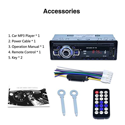 Aigoss Autoradio Bluetooth, 4 x 60W Voiture Stéréo FM Radio, Lecteur MP3 Poste Radio Voiture, Universelle Récepteur Conversation Mains Libres AUX/Carte SD/USB/Smartphone