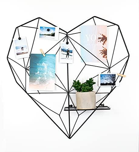 Deko Herz Wandgitter aus Eisen in schwarz (55x55cm) zum aufhängen von Fotos | Metall Memoboard Pinnwand Gitter zum dekorieren der Wand (Herz schwarz)