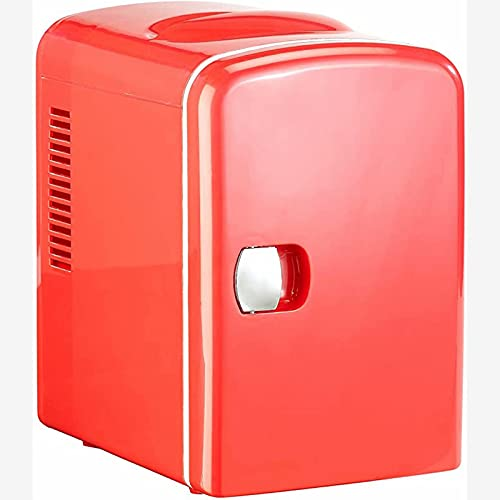 Mini refrigerador - mini refrigerador térmico Mini refrigerador de latas con función de mantener caliente, 4 litros, para 12/230 voltios (rojo)