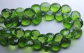 Jewel Beads Natural Beautiful jewellery 4 Inches Strand.Super Finist,Parrot Green Quartz Faceted Heart Shape Briolette,11-12mm Approx.Code:- JBB-38294