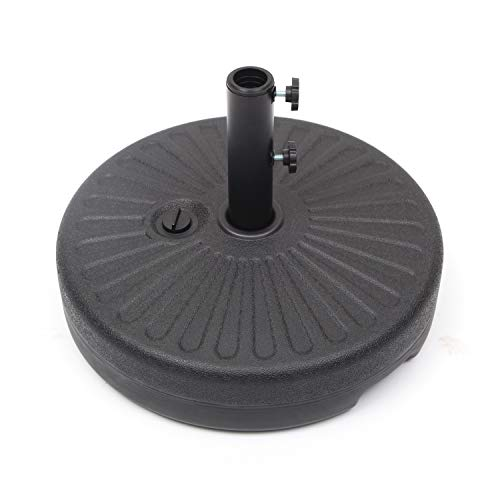 """Workgroup Patio Umbrella Base Stand Water Filled Round 20"""" Heavy Duty Pole Holder for Outdoor, Lawn, Garden Black"""