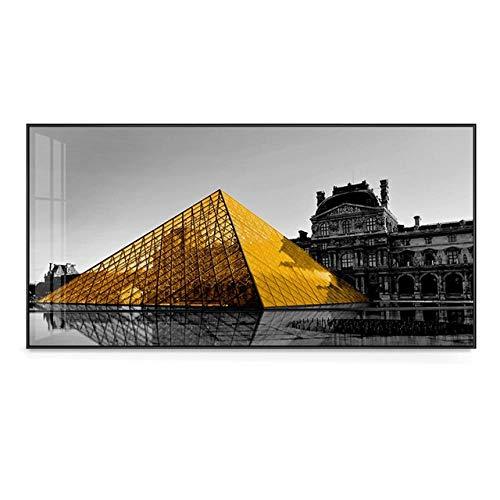SYLSBAZGYS Increíble pirámide de Cristal Dorado del Louvre en Carteles de la Ciudad en Blanco y Negro Imágenes artísticas de Pared para Sala de Estar Dormitorio Pintura en Lienzo Sin Marco-C_30x60cm