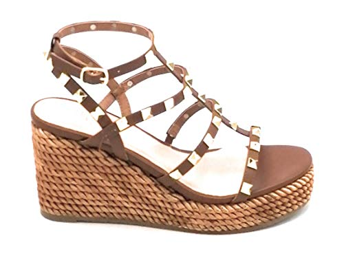 Ovye 157563 Sandalen mit Keilabsatz, geflochtenes Seil, Lederband, Zubehör W - Schuhgröße 37 EU Farbe Leder