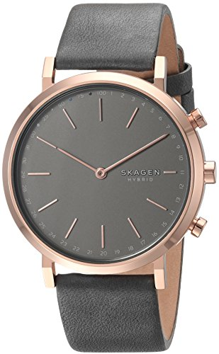 Skagen Women's Hald Stainless Steel and Leather Hybrid Smartwatch, Color: Rose Gold-Tone, Gray SKT1207