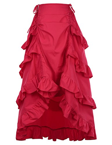Belle Poque Falda Gitana roja Punk gótica para Mujer L Rojo
