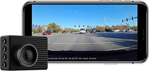 Garmin Dash Cam 46, Wide 140-Degree Field of View in 1080P HD, 2' LCD Screen and Voice Control, Very Compact with Automatic Incident Detection and Recording (Renewed)