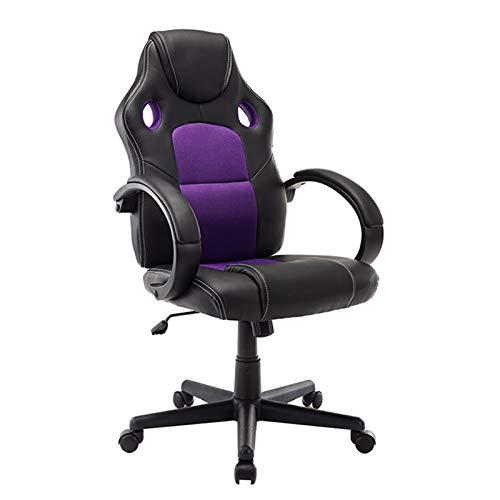 Silla giratoria ergonómica para adultos para adultos Silla para adultos para adultos Casual Comfort Silla de computadora para dormitorio (Color : Purple)
