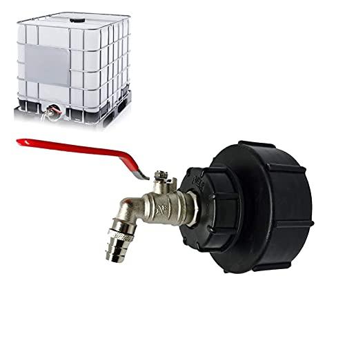 Hezhu IBC Grifo de descarga IBC adaptador S100x8 / S60X6 rosca gruesa – Válvula de bola de 3/4 pulgadas, depósito de agua de lluvia para grifo con rosca para manguera