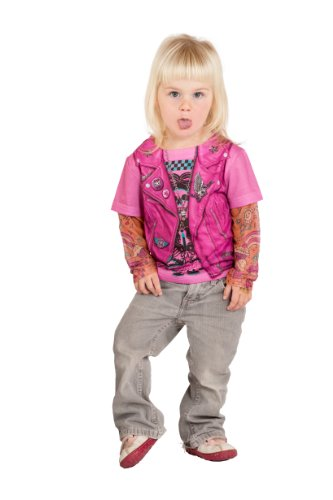 Faux Real Toddler Girl's Toddler Pink Biker Girl with Tattoo Sleeves Childrens Costume, White, 4T