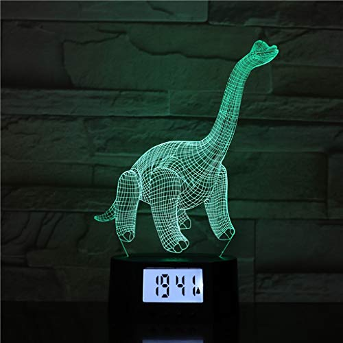 Creativo Night Light 3D Animal Shape con Reloj Despertador, Benfica 7 Color Intermitente LED Lighting (Color : USB Touch)