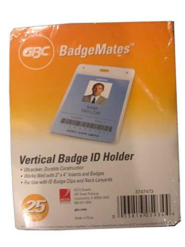 "Swingline GBC Badge Holder, Vertical ID Holder, 4"" x 3"", Clear Name Badge Holder, BadgeMates, 25 Pack (3747473)"