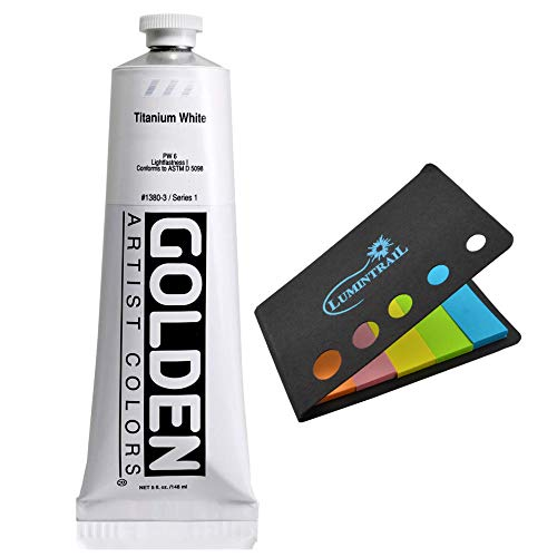 Golden Artist Heavy Body Acrylic Paint, 5 Ounce Tube-Titanium White (1380-3) + A Lumintrail Colored Sticky Notes Set