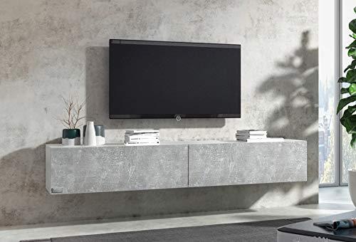 Wuun® 140cm/ Front Beton (Korpus Perl-Matt-Grau)/8 Größen/6 Farben/TV Lowboard TV Board hängend Hängeschrank Wohnwand/Somero