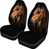WELLFLYHOM Horse Universal Car Seat Covers Front Seats Only Animal Print, 2 Piece Washable Waterproof Elastic Polyester Bucket Seats Protector SUV Interior Accessories