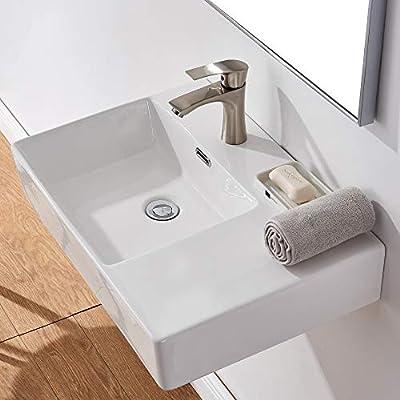 Bathroom Sink,White Wall Mounted Sink,Rectangle Wall Mount Bathroom Vessel Sink,Modern Floating or Countertop Porcelain Ceramic Washing Bathroom Lavatory Sink