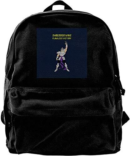 Canvas Rucksack Shredder Flawless Victory Ninja Turtles TMNT Rucksack Gym Wandern Laptop Umhängetasche Daypack für Männer Frauen