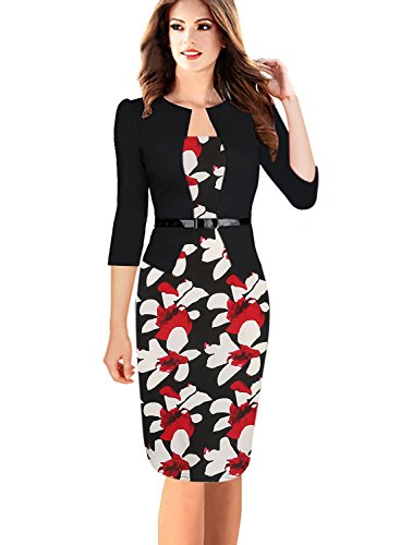 Oxiuly Women's Patchwork Stretch Foral Print Optical Illusion Formal Dress OX166 (S, Black + Red Flower 3/4 Sleeve)