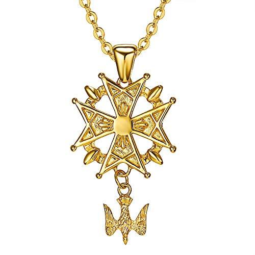 BOBIJOO Jewelry - Pendentif Collier Homme Croix Huguenote Protestant Acier Doré Plaqué Or + Chaîne