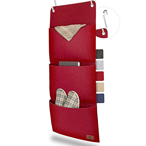 sølmo I Colgador de Armario con 3 Bolsillos – Organizador de Accesorios, Zapatos y Ropa – Organizador para Colgar en el Armario o Puerta [Rojo Vino]